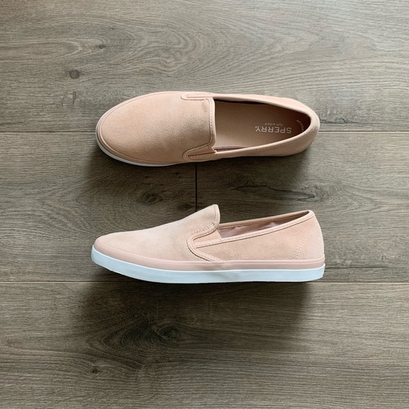 New Sperry Soft Rose Pink Suede White Slip On Shoe